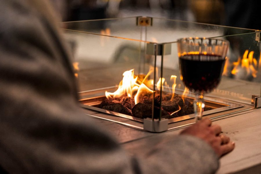 Winter terrace with fire tables by Local Table Tap